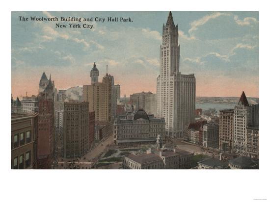 New York, NY - Woolworth Building and City Hall Park-Lantern Press-Art Print