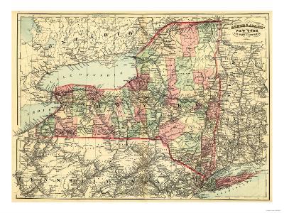 New York - Panoramic Map-Lantern Press-Art Print