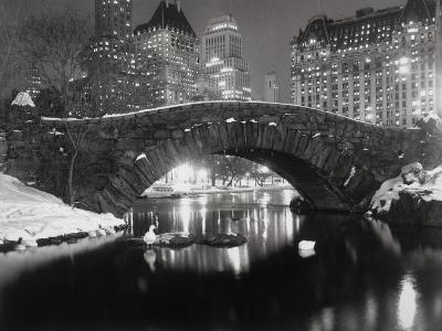 New York Pond in Winter-Bettmann-Premium Photographic Print