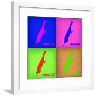 New York Pop Art Map 1-NaxArt-Framed Premium Giclee Print