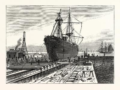 New York: Preparing to Remove the Obelisk from the Hold of the Steamer Dessoug--Giclee Print