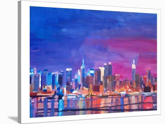 New York Rainbow Skyline 2-M Bleichner-Stretched Canvas Print
