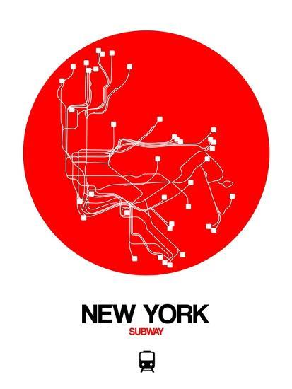 New York Subway Map Art.New York Red Subway Map Art Print By Naxart Art Com