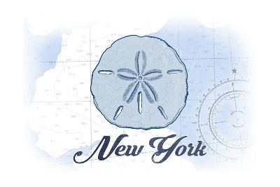New York - Sand Dollar - Blue - Coastal Icon-Lantern Press-Art Print