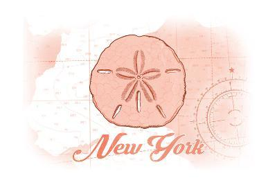 New York - Sand Dollar - Coral - Coastal Icon-Lantern Press-Art Print