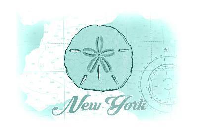New York - Sand Dollar - Teal - Coastal Icon-Lantern Press-Art Print