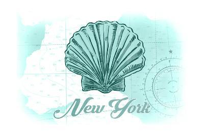 New York - Scallop Shell - Teal - Coastal Icon-Lantern Press-Art Print