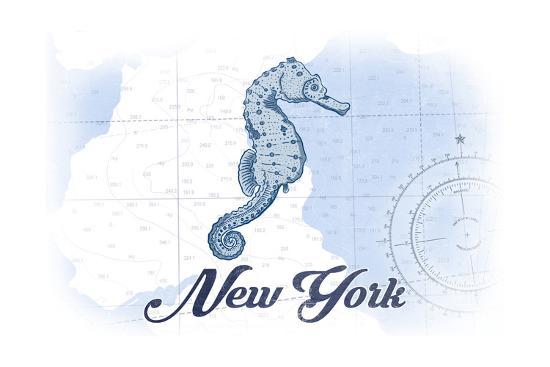 New York - Seahorse - Blue - Coastal Icon-Lantern Press-Art Print