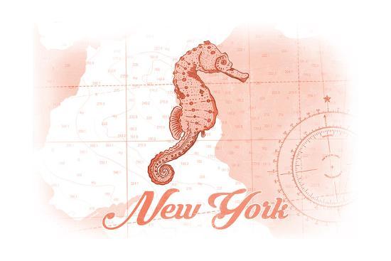 New York - Seahorse - Coral - Coastal Icon-Lantern Press-Art Print