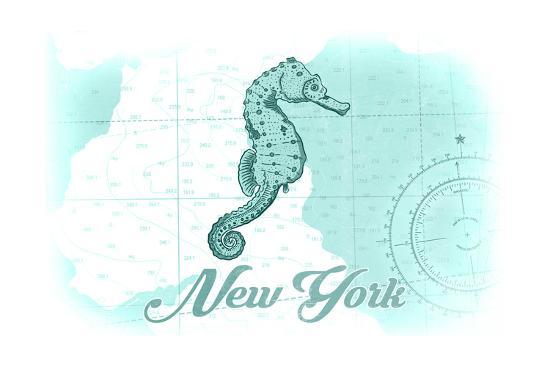New York - Seahorse - Teal - Coastal Icon-Lantern Press-Art Print