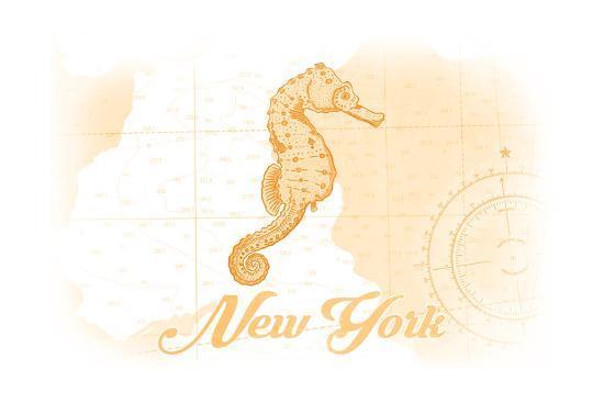 New York - Seahorse - Yellow - Coastal Icon-Lantern Press-Art Print