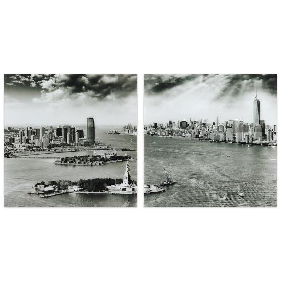 """New York Skyline AB"" Frameless Free Floating Tempered Glass Panel Graphic Wall Art--Alternative Wall Decor"