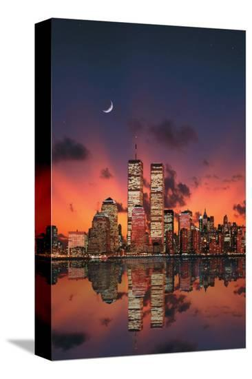 New York Skyline at Night--Stretched Canvas Print