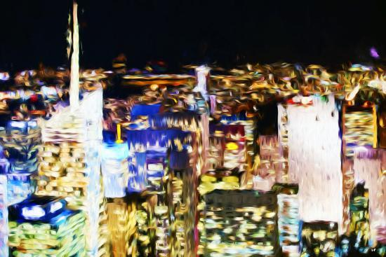 New York Skyline III - In the Style of Oil Painting-Philippe Hugonnard-Giclee Print