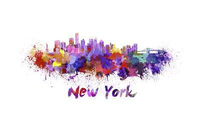 New York Skyline in Watercolor-paulrommer-Art Print