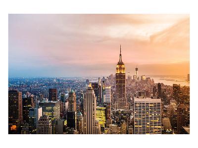 New York Skyline Sunset--Art Print