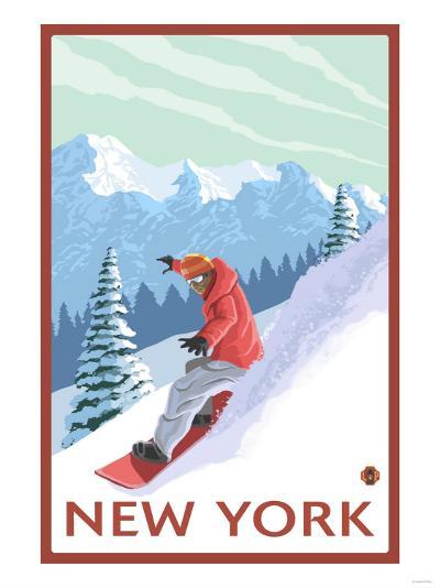 New York - Snowboarder Scene-Lantern Press-Art Print