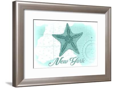 New York - Starfish - Teal - Coastal Icon-Lantern Press-Framed Art Print