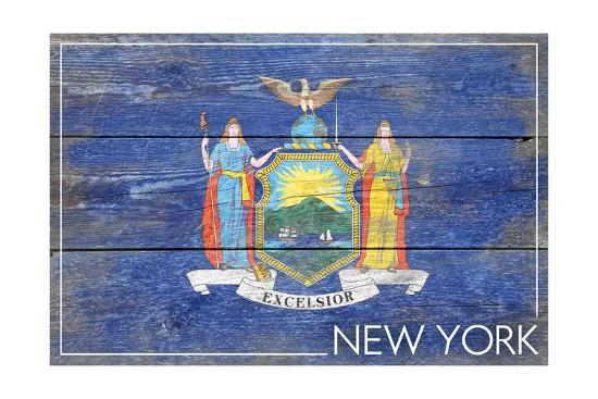 New York State Flag - Barnwood Painting-Lantern Press-Art Print