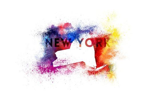 New York State Outline Abstract Paint-Lantern Press-Art Print