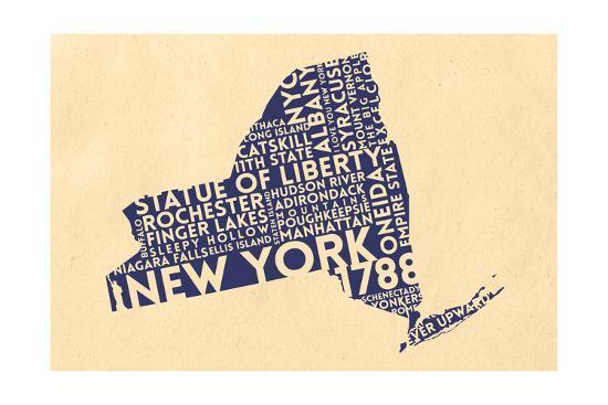 New York State Outline Typography (Cream)-Lantern Press-Art Print