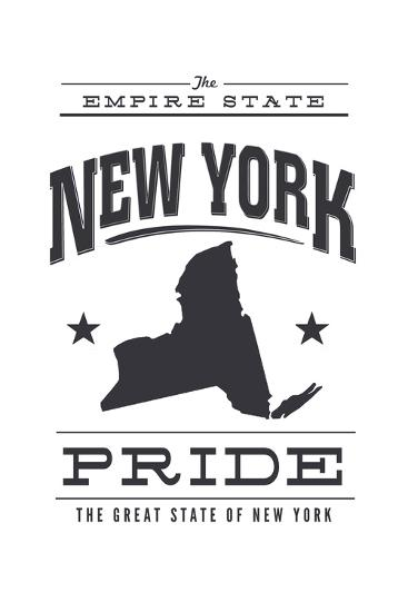 New York State Pride (Black)-Lantern Press-Art Print