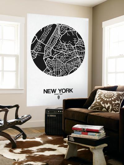 New York Street Map Black and White-NaxArt-Wall Mural