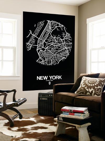 New York Street Map Black-NaxArt-Wall Mural
