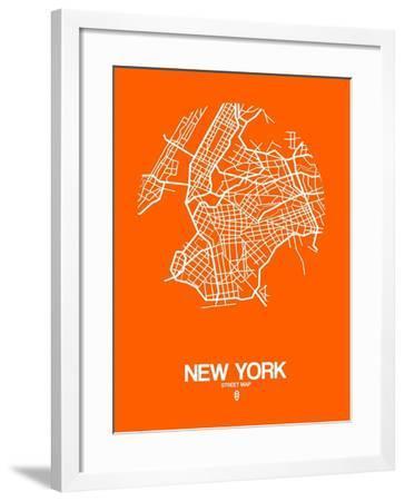 New York Street Map Orange-NaxArt-Framed Art Print