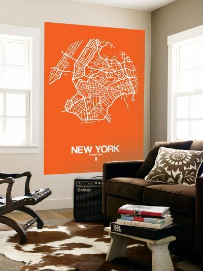 New York Street Map Orange-NaxArt-Wall Mural
