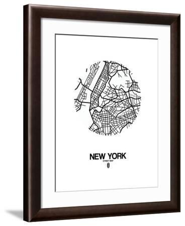 New York Street Map White-NaxArt-Framed Art Print