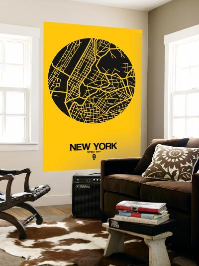 New York Street Map Yellow-NaxArt-Wall Mural