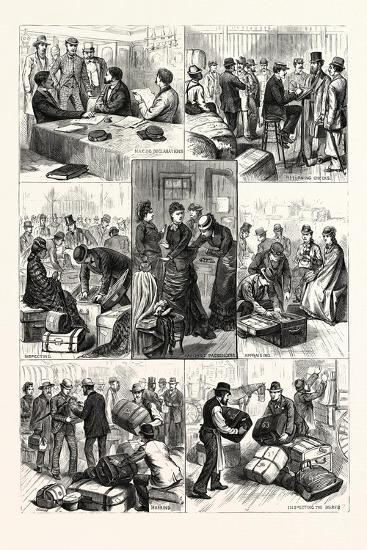 New York: the Terror of Ocean Travelers, a Day with a Custom House Inspector. U.S., 1880 1881--Giclee Print