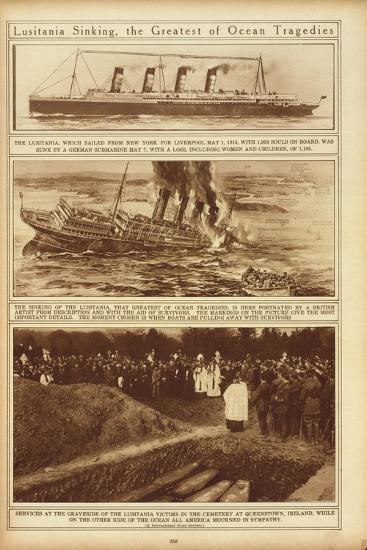 New York Times Illustrations of Sinking of the Lusitania by a German Submarine, 1915--Art Print