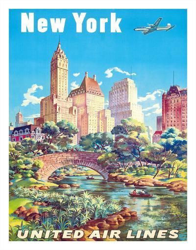 New York - United Air Lines - Gapstow Bridge at Central Park South Pond, Manhattan-Joseph Feher-Giclee Print