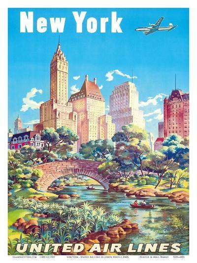 New York - United Air Lines - Gapstow Bridge at Central Park South Pond, Manhattan-Joseph Feher-Art Print