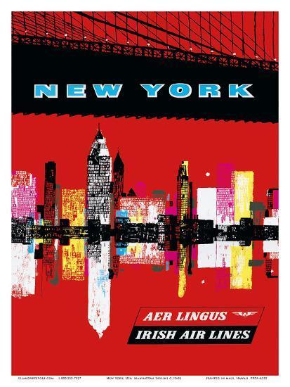 New York, USA Aer Lingus Irish Air Lines - Manhattan Skyline--Art Print