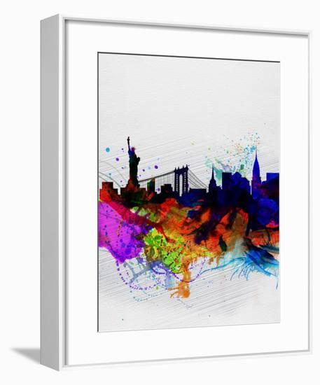 New York Watercolor Skyline 1-NaxArt-Framed Art Print