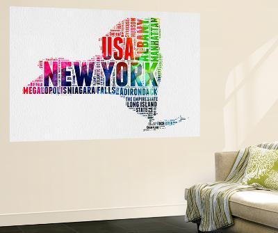 New York Watercolor Word Cloud-NaxArt-Wall Mural