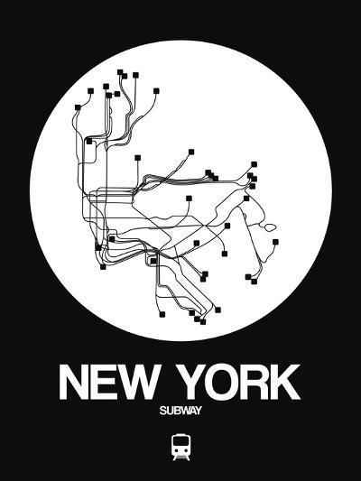 New York White Subway Map-NaxArt-Art Print