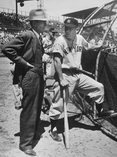 New York Yankee Outfielder Mickey Mangle Talking with Tom Greenwade--Premium Photographic Print
