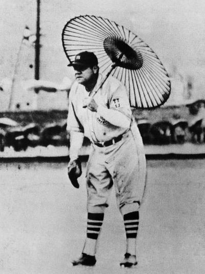 New York Yankees. Babe Ruth, Holding Umbrella During Japanese-American Baseball Match, Japan, 1934--Photo