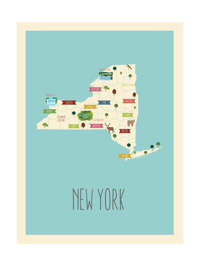 New Your Blue Map-Kindred Sol Collective-Art Print