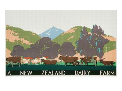New Zealand Dairy Farm Poster--Art Print
