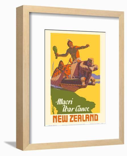 New Zealand - Maori War Canoe-Marcus King-Framed Art Print