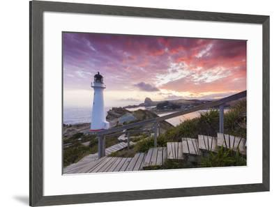 New Zealand, North Island, Castlepoint, Castlepoint Lighthouse, dusk-Walter Bibikw-Framed Photographic Print