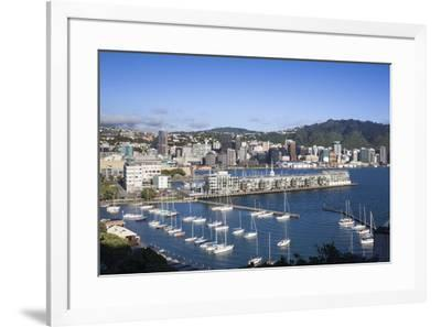New Zealand, North Island, Wellington, elevated city skyline from Mt. Victoria, dawn-Walter Bibikw-Framed Photographic Print