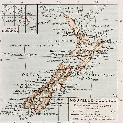 New Zealand Old Map-marzolino-Art Print