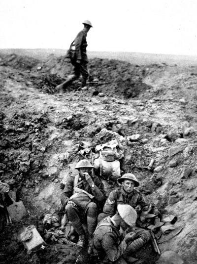 New Zealand Soldiers Resting in Shell-Hole--Photographic Print