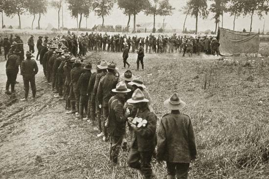 New Zealand troops queuing for a field canteen, Somme campaign, France, World War I, 1916-Unknown-Photographic Print